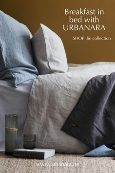 Sleep peacefully in the softest, cosiest bedding made from the finest natural fabrics out there – sweet dreams! Discover hand-picked home textiles and home accessories from URBANARA! #bedroominspo Linen Bed Sheets, Linen Pillows, Linen Bedding, Green And Grey, Blue And White, Natural Bedroom, Dobby Weave, Textiles, Breakfast In Bed