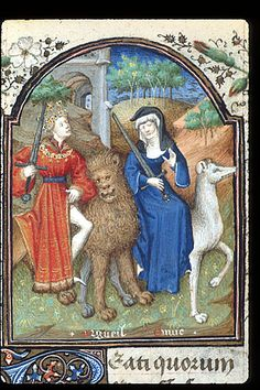 A miniature in the French Penitential Psalms, c.1440-50, portrays personifications of Pride (Orgeuil), with lion, sword and crown attributes, and Envy (Envie), with sword and wolf attributes; (Yates Thompson 3 f.159). (British Library)