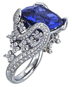 Love! Needs to be an emerald!   18k white gold and diamond Garden Collection ring with cushion-cut tanzanite center stone, Mark Patterson