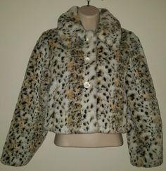 Justice girls faux fur Leopard print animal print winter jacket coat size 12 #Justice #BasicCoat #Everyday