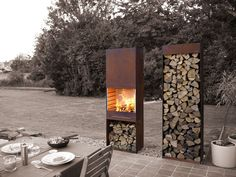 by François Royen by TOLE the outdoor living experienceArchiExpo TOLE Garden Fire & Barbeque – Corten steel outdoor fireplace and firewood storage Outdoor Rooms, Outdoor Gardens, Outdoor Living, Outdoor Decor, Outdoor Photos, Design Barbecue, Corten Steel, Outdoor Projects, Garden Inspiration