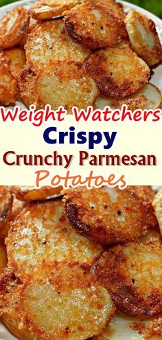 Crispy Crunchy Parmesan Potatoes – These oven baked potatoes are perfect for a side or even just a snack.Just a fleeting glance at these Crispy Roasted Parmesan Potatoes is all you need to KNOW that… Skinny Recipes, Ww Recipes, Side Dish Recipes, Healthy Recipes, Healthy Snacks, Cooking Recipes, Recipies, Healthy Fats, Healthy Choices