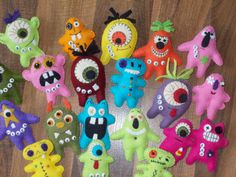 Use up those scraps of wool felt! These fun little monsters can be made as pins, magnets, pencil toppers, pocket critters, key chains, back pack dangles, etc. The measure only 3 inches tall. So many different combinations. Let your imagination run wild. All the kids Ive shown them to love them! Should be a great Fall show seller! Pattern includes color picture, 12 different body shapes and lots of suggestions for completing your Monster Hoard.