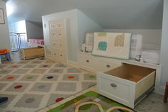 Amazing attic bedroom by my husband! He turned our unfinished attic into a beautiful bedroom for our boys. This article has some great and creative ideas