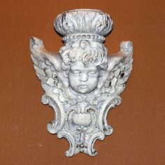 Vintage Painted Angel Cherub Bracket Sconce Wall Shelf, Modern.