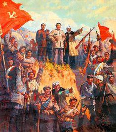 Mao Zedong with his Eight Route Army Communist Propaganda, Civil War Art, Modern Pop Art, Ww2 History, Historical Art, China, Communism, Military Art, Kawaii Anime