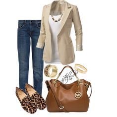 Such an easy ensemble to pull together: jeans, white shirt, blazer, and leopard-print shoes. Mode Outfits, Fall Outfits, Casual Outfits, Fashion Outfits, Womens Fashion, Fashion Trends, Blazer Outfits, Blazer Jeans, Look Blazer
