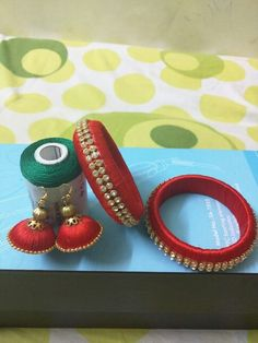 Red color silk thread bangles and earrings