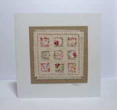 Pink Patchwork handstitched card by natalietiltman on Etsy Homemade Greeting Cards, Greeting Cards Handmade, Homemade Cards, Free Motion Embroidery, Embroidery Kits, Machine Embroidery, Fabric Cards, Paper Cards, Handmade Valentine Gifts