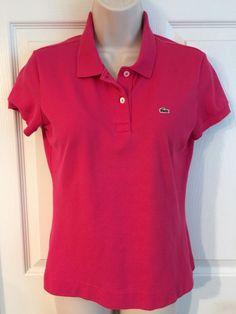 Lacoste Women's Fuschia Pink Short Sleeve Polo Shirt Size 42 M L | eBay