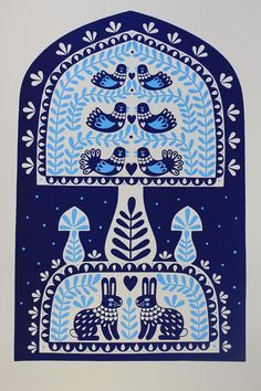 Folk Art Print by Karoline Rerrie. Birds and other animals feature heavily in this style of art. Scandinavian Pattern, Scandinavian Folk Art, Folklore, Pattern Art, Print Patterns, Graphic Illustration, Illustrations, Petite France, Folk Print