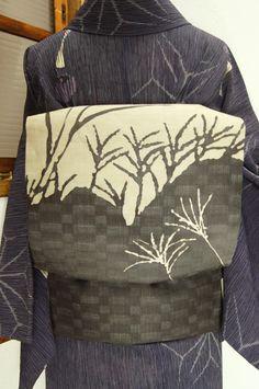 shimaiya:  利休白茶に檳榔子黒の穂影美しい変わり市松透かしの夏帯 - アンティーク着物/リサイクル着物のオンラインショップ ■□姉妹屋□■…