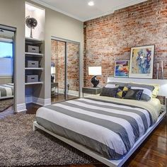 Realistic Brick Wallpaper : brick effect wallpaper Boy Bedroom Design, Chic Bedroom Design, Wallpaper Bedroom, Traditional Bedroom, Bedroom Design, Brick Wall Bedroom, Home Interior Design, Brick Wallpaper Bedroom, Bedroom Design Styles