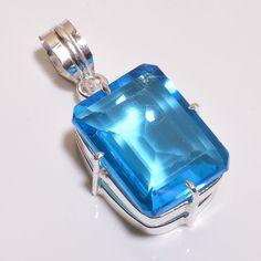 Lovely Faceted Swiss Blue Topaz .925 Silver Handmade Pendant Jewelry JB592 #Handmade