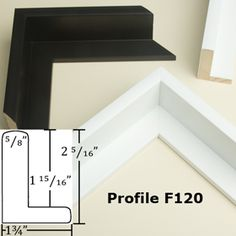 Our Profile F120 Canvas floater frame is available in Black and White.