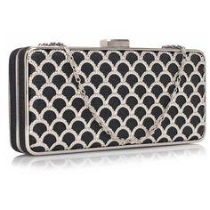 Czarno-srebrna luksusowa torebka wizytowa czarny | Sklep internetowy Evangarda.pl