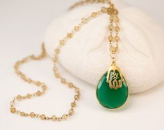 Green Onyx Necklace  Hamsa Hand Charm Necklace  Wire by delezhen, $78.00
