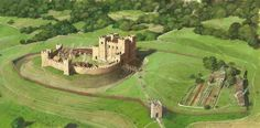 Kenilworth Castle A reconstruction drawing of what the original Norman motte and bailey castle would have looked like.