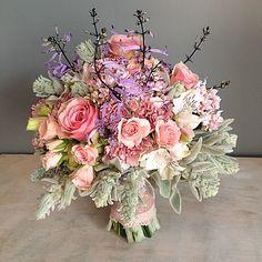 bukiet ślubny, wesele, kwiaty, wiązanka,lawendula, pastele, zgaszona szara zieleń, róż