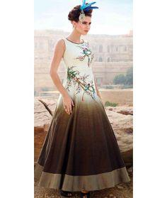 Splendorous White Silk Designer Gown.