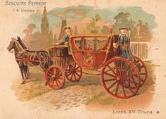 Chromolithograph (French trading card) depicting a coach of Louis XV's time