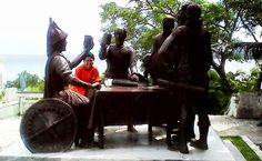 Blood Compact in Tagbilaran, Bohol, Philippines. A historic sight right beside a hotel.