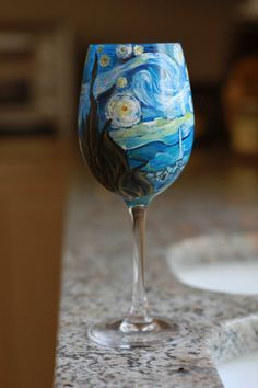 Items similar to Van Gogh Inspired Hand Painted Wine Glass Featuring The Starry Night on Etsy Bottle Painting, Diy Painting, Vincent Van Gogh, Wine And Canvas, Van Gogh Paintings, Painted Wine Glasses, Art Club, Hand Painted, Photos