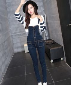 bcd1a6166503 EC04023 Deep color bib pants Korean style jumpsuit for women Korean Jeans