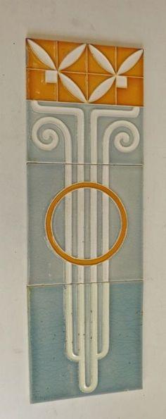 rare ° Set 3 x SERVAIS Tegel TILE Art Nouveau Fliese Jugendstil Kachel carreaux