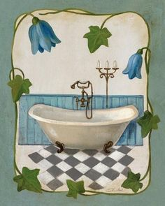 Bell Flower Bath I On IVory Art Print Poster by Silvia Vassileva Online On Sale at Wall Art Store – Posters-Print.com