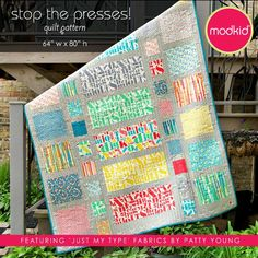 Stop The Presses Quilt Pattern By Modkid · How To Make A Patchwork Quilt · Sewing on Cut Out + Keep Quilt Baby, Rag Quilt, Quilt Blocks, Quilting Tips, Quilting Projects, Quilting Designs, Sewing Projects, Patchwork Quilting, Sewing Ideas