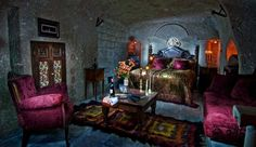 A luxuriously eclectic cave room. Capadoccia, Turkey....So Much World To See!....Travel The World & SAVE Money-Earn Income Online-Create The Lifestyle You Deserve! Visit www.eliteholidayincome.com to see how!