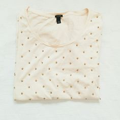"""[Host Pick] J. Crew Sequin Dot Tee J. Crew T-Shirt in """"pale buff"""" (very light pink peachy color) with sequins and beads. Excellent condition. Worn once. Google """"J. Crew Sequin Dot Tee in pink"""" to see original J. Crew photos. J. Crew Tops Tees - Short Sleeve"""