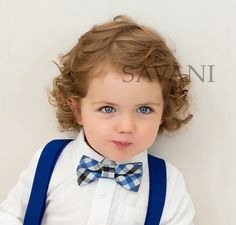 Baby boy suspenders and bow tie2 PCS SET blue by SAVANIlittleboy
