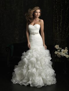 Romantic Ivory Silver White $$ - $701 to $1500 Allure Bridals Beading Fit-n-Flare Floor Mermaid/Trumpet Natural Organza Ruching Ruffles Sash/Belt Sleeveless Strapless Sweetheart Wedding Dresses Photos & Pictures - WeddingWire.com