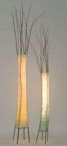 Multi-Twig Towers  Plum twigs and handmade paper 84 & 72 x 5 inches  Susan Hersey