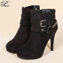 Chaînes de mode talons hauts cheville bottes femmes chaussures femme femmes bottes chaussures(China (Mainland))
