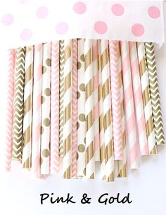 Light pink and gold paper straws-set of Vintage pink and gold, baby shower pink straws, vintage weddings, bridal showers, pink and gold - Girl Baby Showers Baby Shower Food For Girl, Baby Shower Cake Pops, Pop Baby Showers, Baby Shower Table, Boho Baby Shower, Baby Shower Themes, Baby Shower Decorations, Shower Ideas, Gold First Birthday