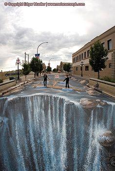 Transformando a Realidade – Edgar Mueller   3D street art - more streetart? Check www.Streetart.nl