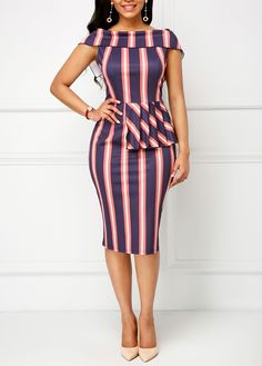Peplum Waist Fold Over Striped Sheath Dress Short African Dresses, Latest African Fashion Dresses, Lace Gown Styles, Chic Outfits, Fashion Outfits, Office Dresses For Women, Kente Styles, Classy Dress, Sheath Dress