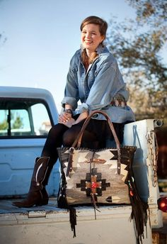 Ory Tote. LOVE IT !! Navajo Handbags made from blankets / rugs, vintage horse tack, and deer, elk or cowhide leathers. I embellish the bags with vintage trade beads, turquoise, coral, nickel silver/German silver Concho buttons, nickel silver spots/studs, and deer antler tips.