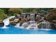 Rock Waterfall with Water Slide - Home and Garden Design Idea's