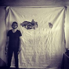GIANT CANVAS !!! Happy New year !!!  have a great year ! Paint and dont stop ! #challenge #happynewyear #art #big #blackandwhite #black #artist #eyes #face #beauty #supra #tmt #zervin #cool