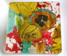 """one of my small decoupage plates~ I """"love"""" the colorful poppy on this one"""