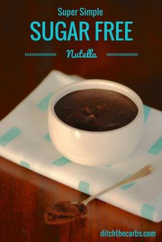 Try this super simple version of a sugar free nutella.  It is incredibly simple to make and uses walnuts rather than roasting and removing the skin from hazelnuts. #lowcarb   ditchthecarbs.com