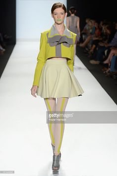 A model walks the runway wearing a Elena Slivnyak design at the Project Runway Spring 2013 fashion show during Mercedes-Benz Fashion Week at The Theatre at Lincoln Center on September 7, 2012 in New York City.