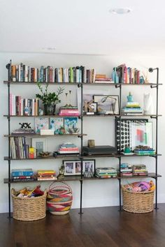 Example of using color on bookshelf (kids books and toys)