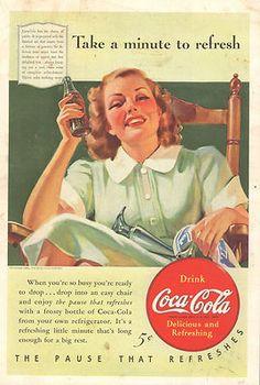1940 Coca Cola Coke Lady Relaxing DISCOUNT Ad Original Print Collectible
