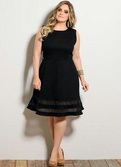 Vestido Evasê com Transparência Preto Plus Size - Posthaus