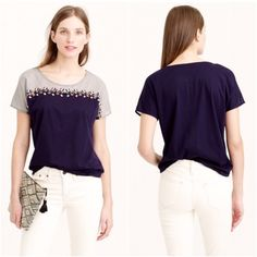 J. Crew top Embroidered colorblock tee by J. Crew. Hand-beaded embellishments and zipper-like embroidery. Woven yoke. Cotton. Size S. J. Crew Tops